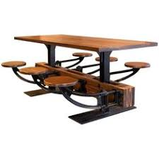 dining table set vine industrial iron cafeteria swing out seat kitchen