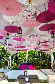 Beautiful wedding decoration idea using colorful wedding parasols