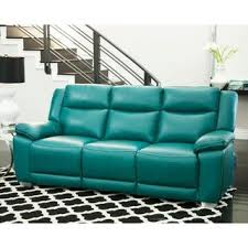 Quality Leather Abbyson Leyla Turquoise Top Grain Leather Push Back Reclining Sofa Mario Mazzitelli Buy Leather Sofas Couches Online At Overstockcom Our Best