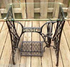 Antique Singer Cast Iron Treadle Base Sewing Machine Glass Top Table  Beautiful