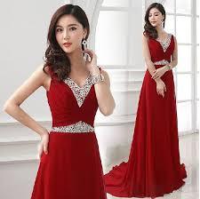 <b>Hot Red</b> Chiffon <b>V</b>-<b>neck</b> Sleeveless New Fashion Elegant Series ...