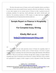 sample on finance in hospitality industry by instant essay writing 5