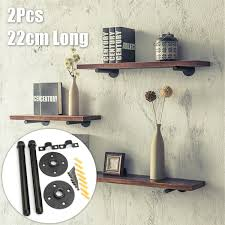 rustic black iron pipe shelf brackets retro industrial wall mounted shelving brackets includes s wall anchors black 9 inch