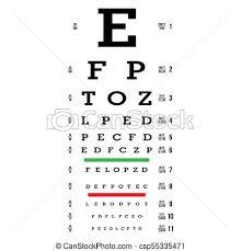 Eye Test Chart Vector Letters Chart Vision Exam Optometrist Check Medical Eye Diagnostic Sight Eyesight Optical Examination Isolated On White
