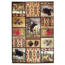 wilderness design brown leaf paw print bear deer pine cone and lodge 5 ft 2 rug paw print rug