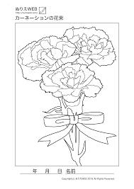 ぬりえwebカーネーションの花束の塗り絵 デイサービス ぬりえ