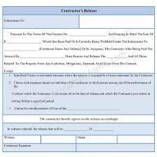Contract Release Form Contractor Liability Release Form 10