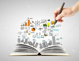 hand drawing business concept and open book stock photo 17689004