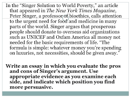 singer essay solution to world poverty peter singers solution to world poverty essay essays