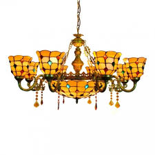 vintage tiffany style 6 arms stained glass jewel shade ceiling chandelier with 12