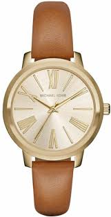 women s michael kors hartman brown leather strap watch mk2521 loading zoom