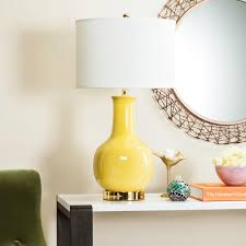 Safavieh 275 In Yellow Ceramic Paris Lamp With White Shade
