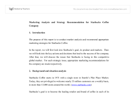 marketing analysis and strategy recommendation for starbucks  document image preview