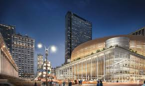 rendering of a renovated madison square garden penn station exterior woods bagot