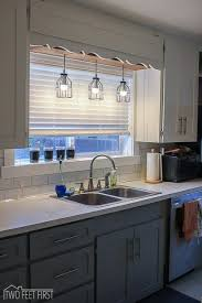 over sink lighting. To Kick Off Our Kitchen Remodel, The First Thing We Did Was Remove Boring Fluorescent Light Above Sink. Who Likes A Plain Anyway?? Over Sink Lighting T