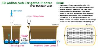 Self Watering 30 Gallon Sub Irrigated Planter Design