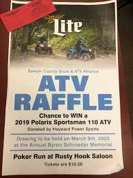 Win the 110 ATV!! Raffle tickets for... - Sawyer County Snowmobile ATV  Alliance | Facebook