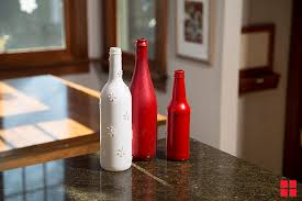 Wine bottles painted with festive colors