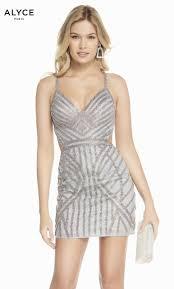 Formal Dress 4148 Short V Neck Straight Strappy Back