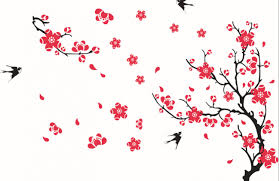 pink flowers black swallows wall decal