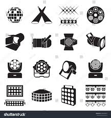 icon lighting. stage lighting icons scene equipment vector illustration icon c