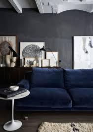 dark blue sofa. Dark Grey Wall, Floor, Blue Sofa, White Accents; Nice Sofa