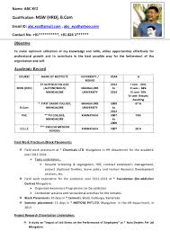 Freshers Resume Format Free Sample Cv Monpence In - Sradd.me