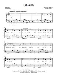 hallelujah piano sheet music hallelujah cohen easy piano sheet music the piano student