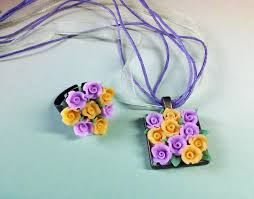 polymer clay jewelry set pendant ring flower ring flower necklace pendant charm purple yellow rose pendant ring summer flower narure jewelry