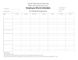 daily work schedule templates example of work schedule template