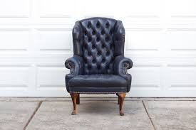 blue leather chair. Vintage Navy Blue Tufted Leather Wingback By HomesteadSeattle Chair Slipcover T