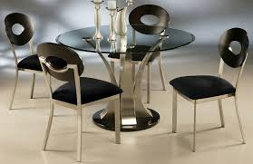 black beveled glass top for dining table with c shape brushed steel legs and round