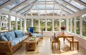 Sunroom - beach style light wood floor sunroom idea in Boston with a glass  ceiling
