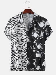 Mens Patchwork <b>Zebra Floral</b> Printed Short Sleeve Shirt | Mens ...