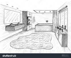 simple bathroom drawing.  Drawing Pencil Drawing Of A Modern Bathroom With Wood Look Floor And Curved Rug In Simple T