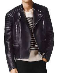 black balmain geometric original fashion leather jacket men s