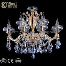 golden water blue crystal chandelier lights