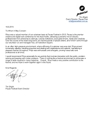 Pause Festival Recommendation Letter For Volunteers Tim