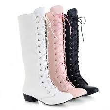 white lace up thigh high boots women winter knee high boots black pink warm pointed toe leather work boots long large size