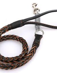 large dog handmade cowhide braided supreme leather leash with shock spring 44 60 inch