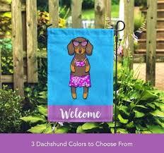 dachshund garden flag girl unique dachshund garden flag