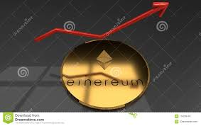 Cyber Currency Charts Golden Ethereum Coin Closeup With A Red Raising Graph Chart