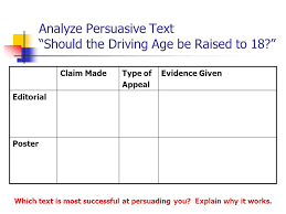 argument persuasive techniques ppt video online analyze persuasive text should the driving age be raised to 18
