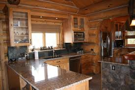 beautiful rustic log cabin kitchen design in a colorado mountain home