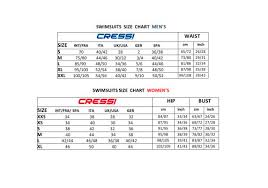 Swim Wear Chart Cressi Sub Pdf Catalogs Documentation