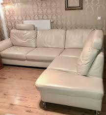 Wohnlandschaft L Couch Leder Sitzgarnitur Eckcouch Creme