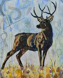 deer painting for of a buck with antlers in earth tones and light blue