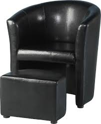 tempo tub chair with footstool in black faux leather