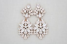 rose gold wedding earrings crystal bridal chandelier