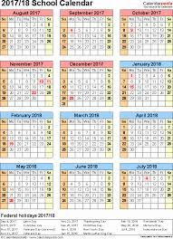 Free Printable School Calendar 2018 School Calendar School Calendars 2017 2018 As Free Printable